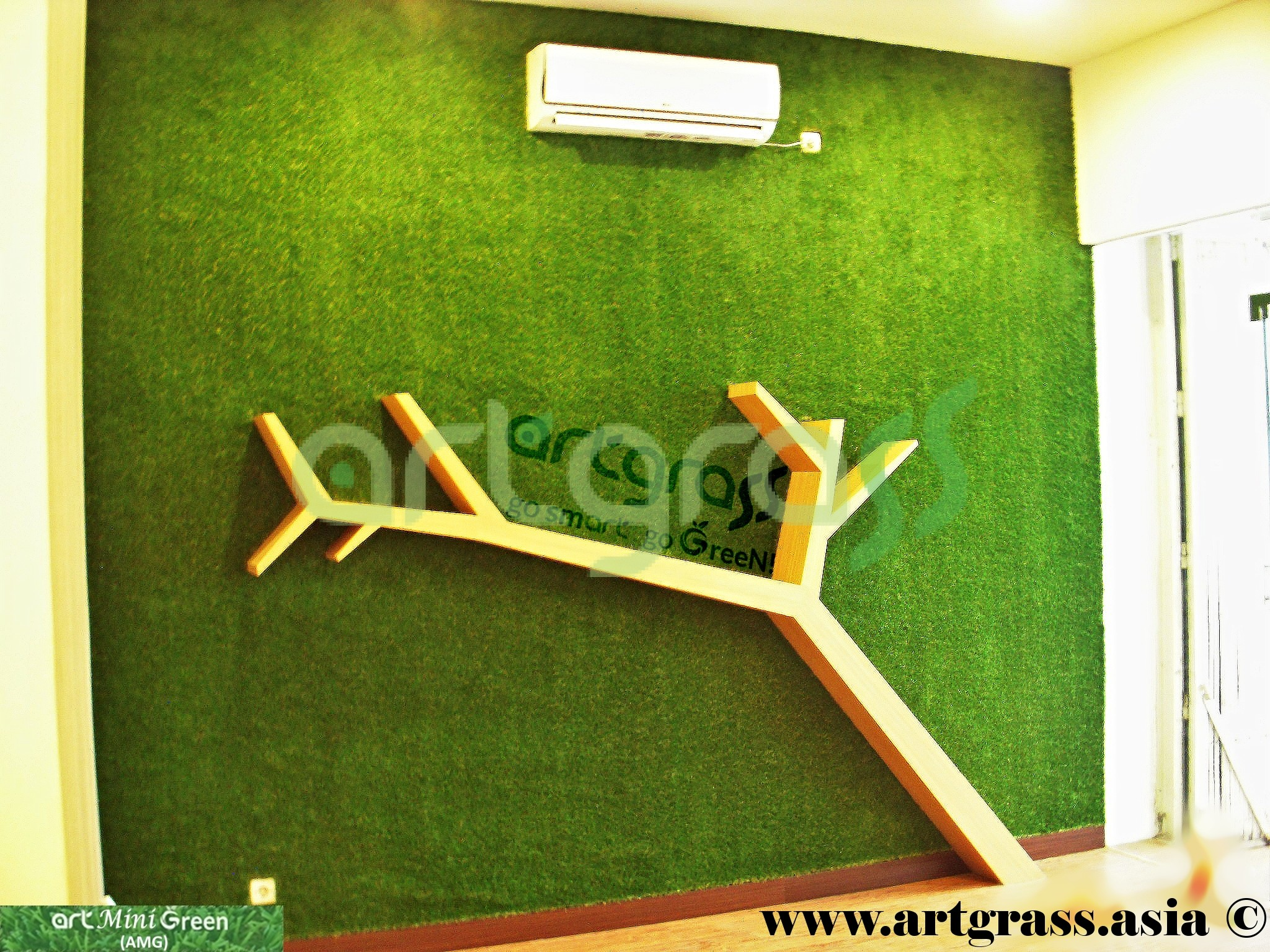 Artgrass-Dinding-Indoor-Pohon-Kayu-Rumput-Sintetis