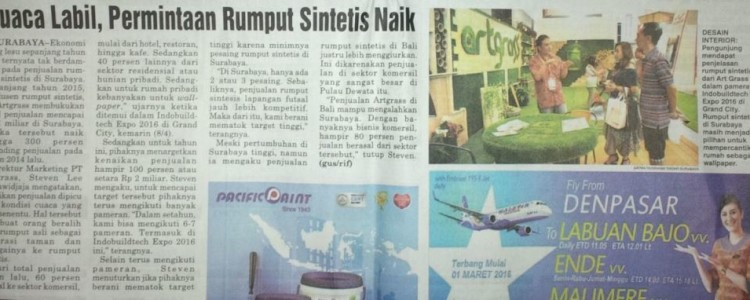 ArtGrass Diliput Koran Radar Surabaya Edisi 9 April 2016